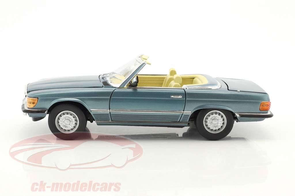 Mercedes-Benz 350 SL Convertible Open Top year 1977 light blue metallic 1:18 SunStar