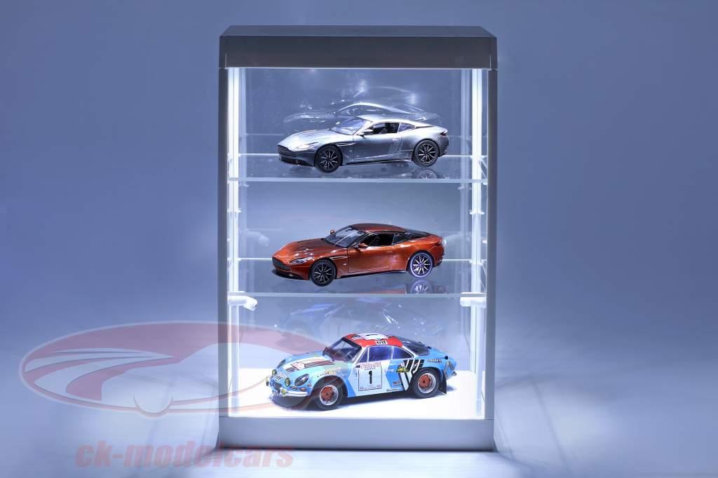 cabinet singolo con 2 mobile lampade a LED per modellini di automobili nella scala 1:18,1:24,1:43 bianco Triple9