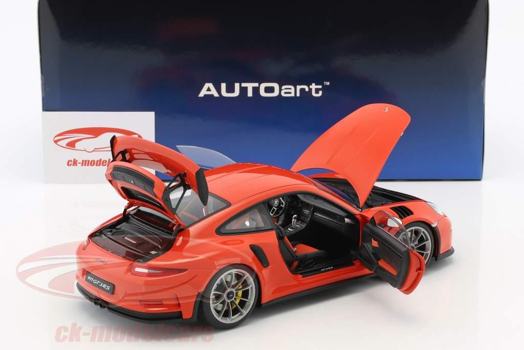 Porsche 911 (991) GT3 RS Opførselsår 2016 lava appelsin med mørk grå hjul 1:18 AUTOart