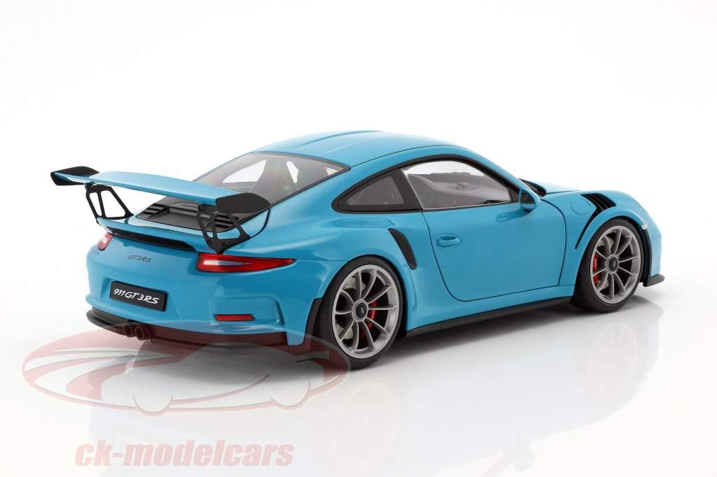 Porsche 911 (991) GT3 RS year 2016 miami blue with dark gray wheels 118  AUTOart