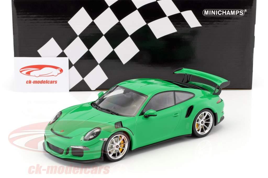 Porsche 911 (991) GT3 RS année de construction 2015 viper vert avec natte argent jantes 1:18 Minichamps