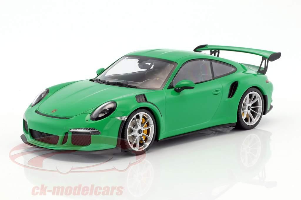 Porsche 911 (991) GT3 RS Baujahr 2015 viper grün mit matt silbernen Felgen 1:18 Minichamps