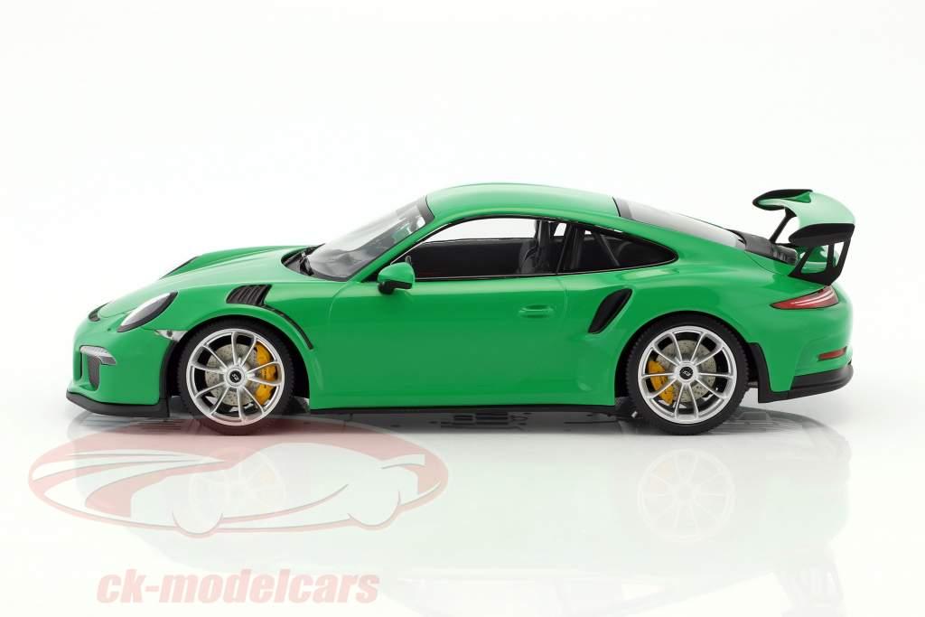 Porsche 911 (991) GT3 RS anno di costruzione 2015 viper verde con tappetino argento cerchioni 1:18 Minichamps