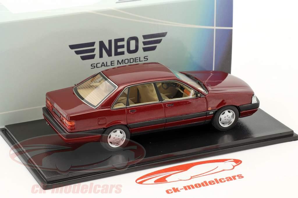 Audi 200 quattro 20V Baujahr 1990 dunkelrot metallic 1:43 Neo