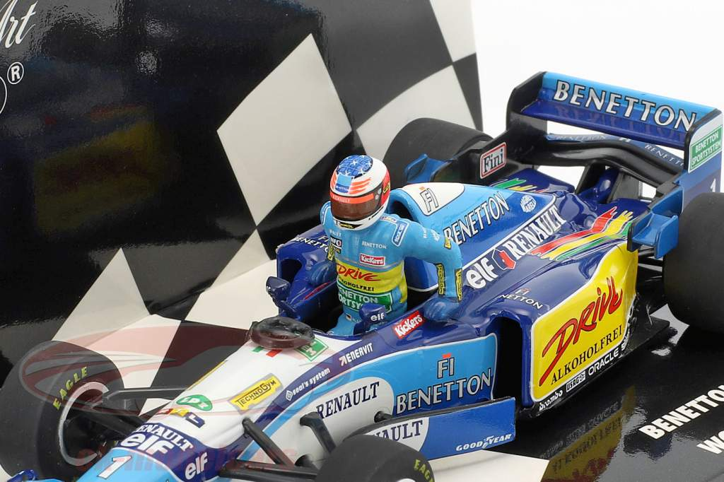 Set figure Michael Schumacher   Benetton B195 #1 champion du monde Formel 1 1995 1:43 Minichamps