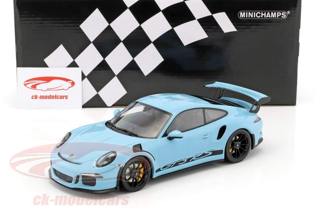 Porsche 911 (991) GT3 RS Baujahr 2015 gulf blau mit schwarzen Felgen 1:18 Minichamps