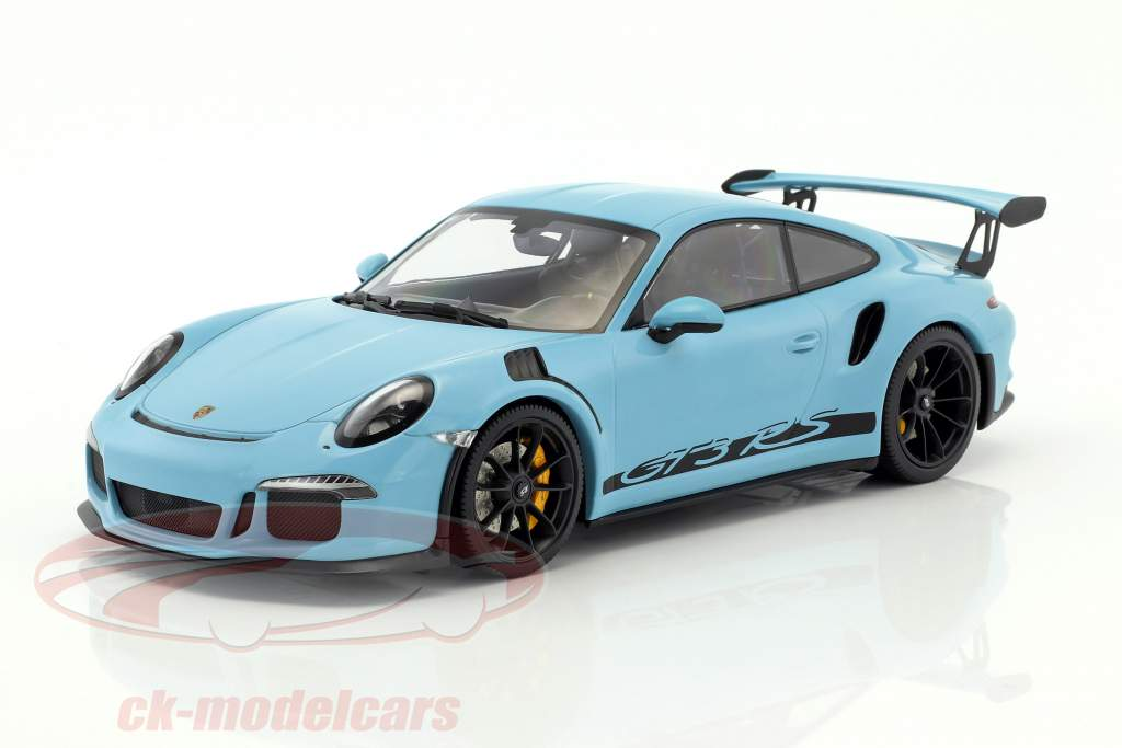 Porsche 911 (991) GT3 RS year 2015 gulf blue with black rims 1:18 Minichamps