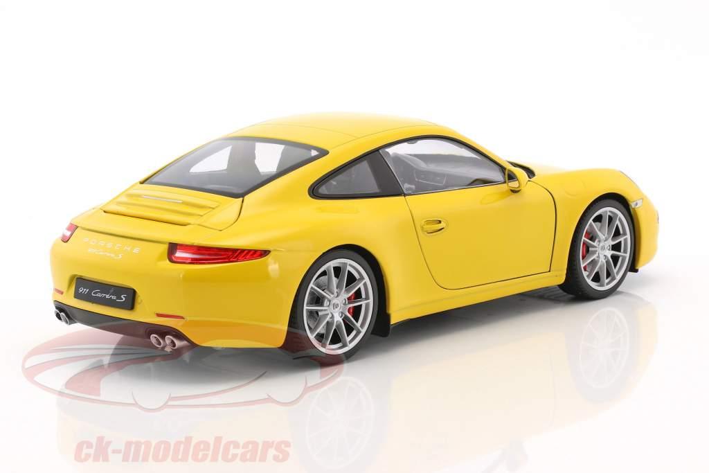 Porsche 911 (991) Carrera S year 2015 racing yellow 1:18 Welly