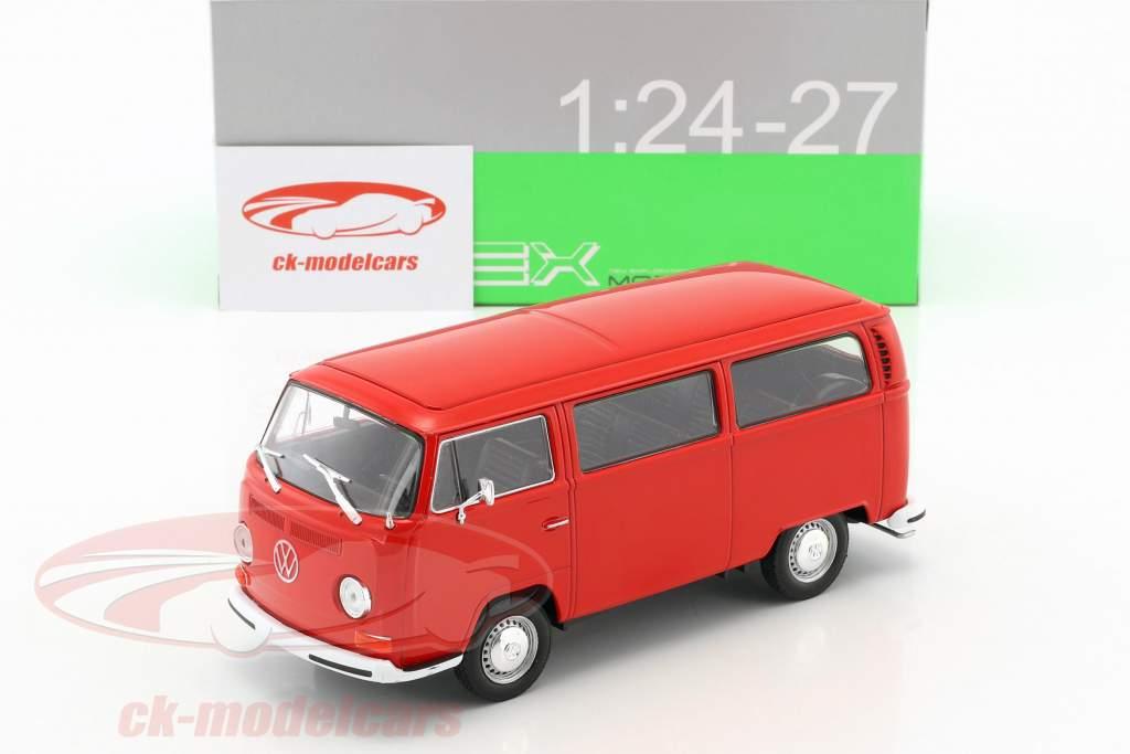 Volkswagen VW T2 bus année de construction 1972 rouge 1:24 Welly