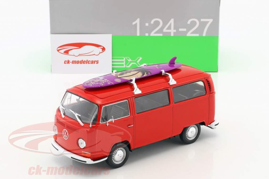 Volkswagen VW T2 ônibus com prancha de surfe ano de construção 1972 vermelho 1:24 Welly