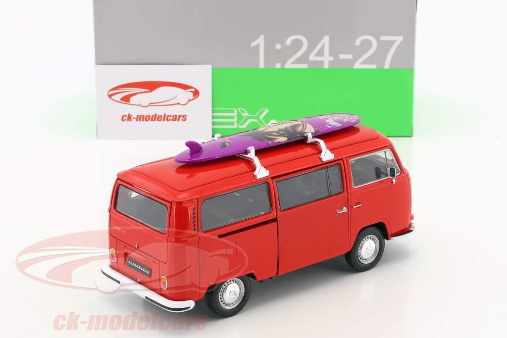 Volkswagen VW T2 bus med surfbræt Opførselsår 1972 rød 1:24 Welly
