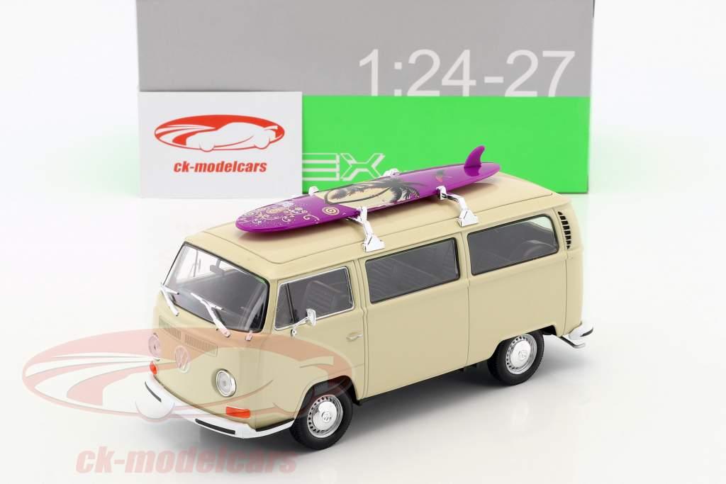 Volkswagen VW T2 Bus avec planche de surf année de construction 1972 crème 1:24 Welly