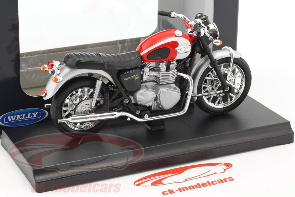 Triumph Bonneville T100 année de construction 2002 rouge / argent / noir 1:18 Welly