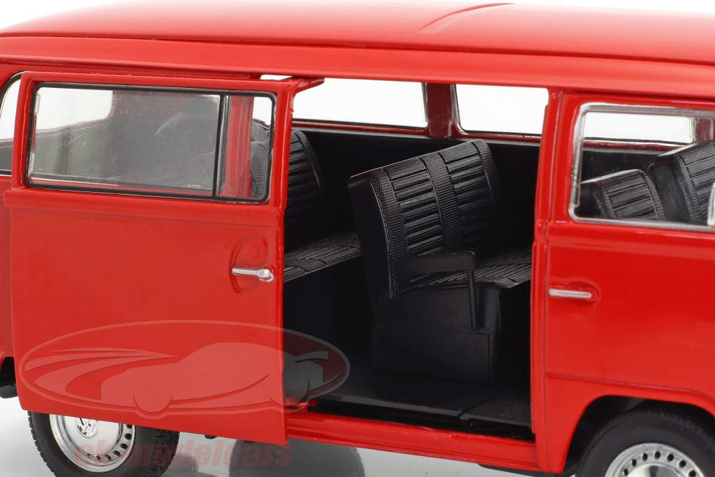 Volkswagen VW T2 ônibus ano de construção 1972 vermelho 1:24 Welly