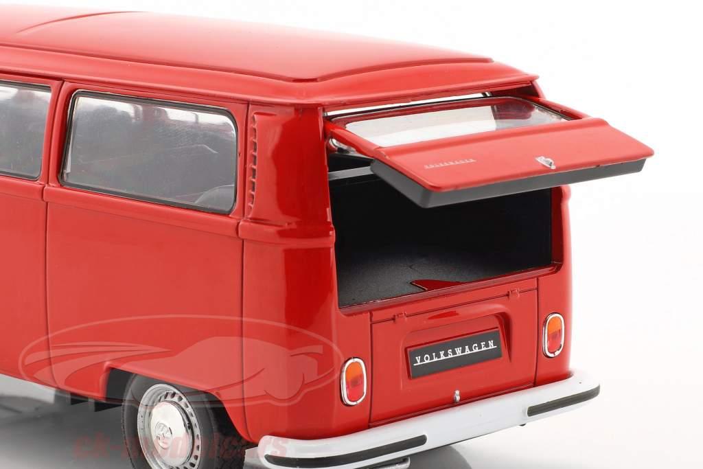 Volkswagen VW T2 autobús año de construcción 1972 rojo 1:24 Welly