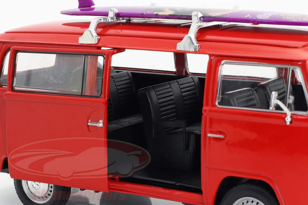 Volkswagen VW T2 bus With surfboard year 1972 red 1:24 Welly