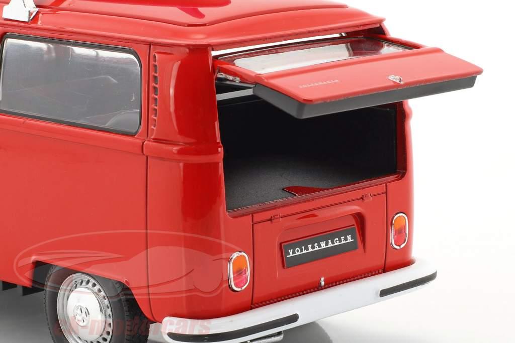 Volkswagen VW T2 autobús con tabla de surf año de construcción 1972 rojo 1:24 Welly