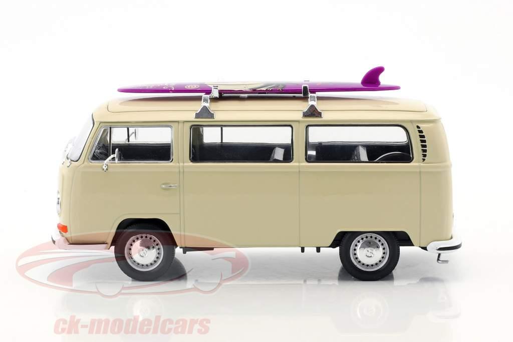 Volkswagen VW T2 Bus com prancha de surfe ano de construção 1972 creme 1:24 Welly