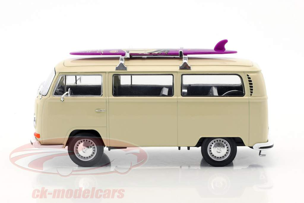 Volkswagen VW T2 Bus con tabla de surf año de construcción 1972 crema 1:24 Welly