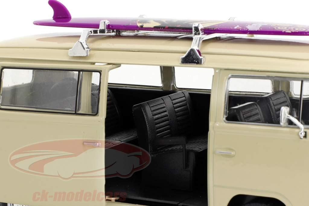 Volkswagen VW T2 Bus met surfboard Bouwjaar 1972 crème 1:24 Welly