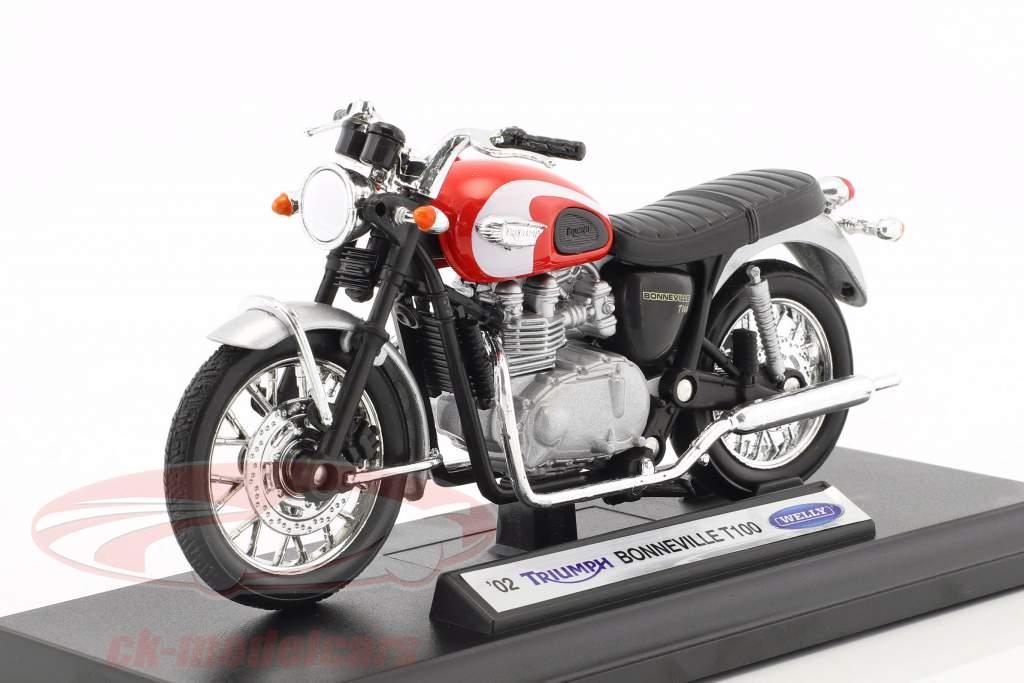 Triumph Bonneville T100 Opførselsår 2002 rød / sølv / sort 1:18 Welly