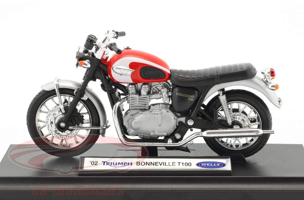 Triumph Bonneville T100 anno di costruzione 2002 rosso / argento / nero 1:18 Welly