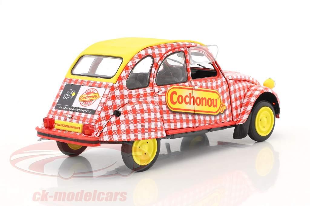 Citroen 2CV6 Cochonou Construction year 1985 red / White / yellow 1:18 Solido