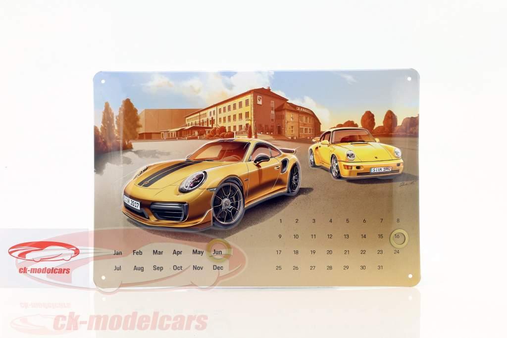 Porsche 911 Turbo S Exclusive Calendario annuale Blechschild 20 x 30 cm