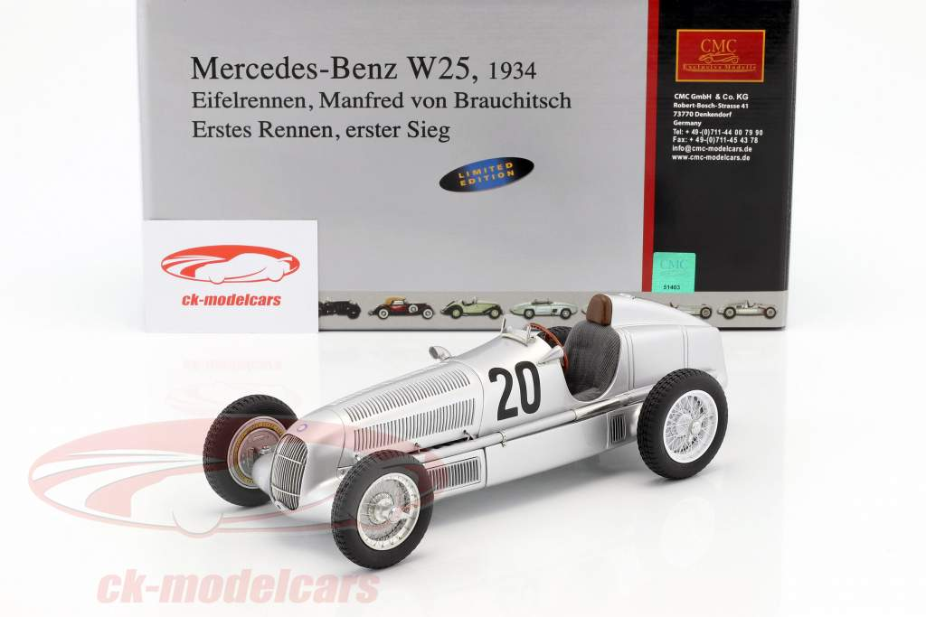 Mercedes Benz W25 #20 v. Brauchitsch formula 1 1934 vainqueur Eifelcourse 1:18 CMC