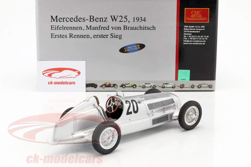 Mercedes Benz W25 º 20 von Brauchitsch Formula 1 1934 Vencedor Eifelrennen 1:18 CMC