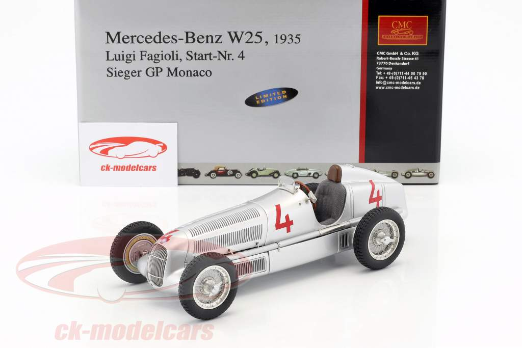 Mercedes-Benz W25 º 4 L. Fagioli Formula 1 1935 GP de Mônaco Winner 1:18 CMC