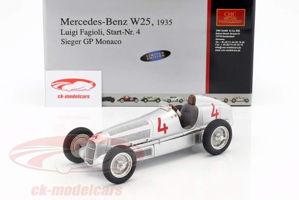 Mercedes-Benz W25 #4 L. Fagioli Fórmula 1 Gran Premio de Mónaco 1935 Ganador 1:18 CMC