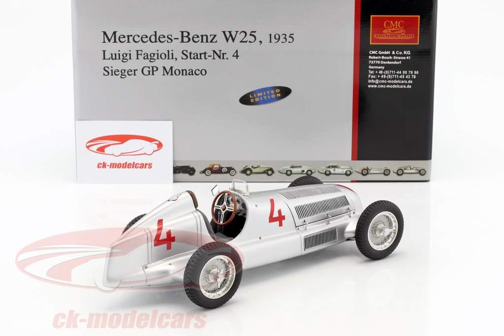 Mercedes-Benz W25 #4 L. Fagioli Formula 1 1935 Monaco GP Winner 1:18 CMC