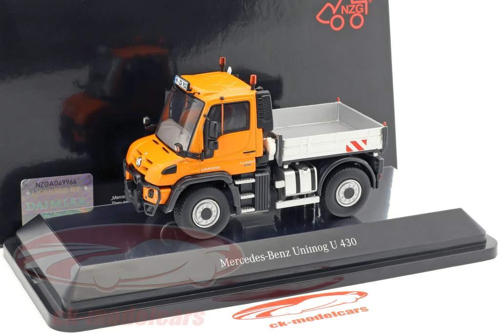 Mercedes-Benz Unimog U 400 con piattaforma arancione / argento 1:50 NZG