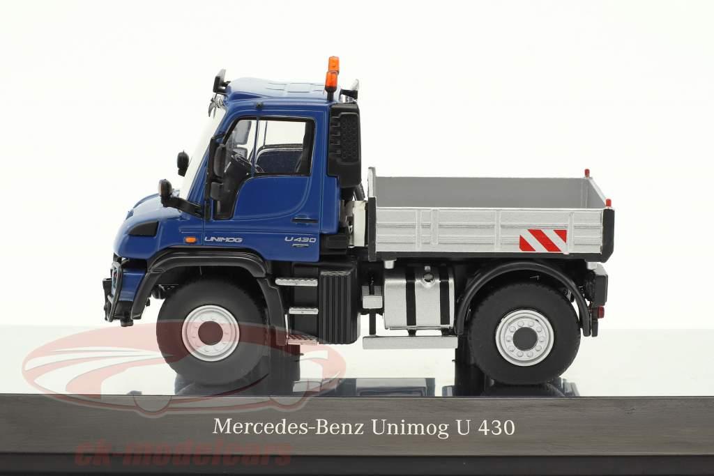 Mercedes-Benz Unimog U 400 avec plate-forme bleu / argent 1:50 NZG