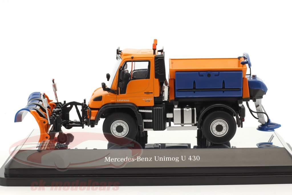 Mercedes-Benz Unimog U 400 Schmidt Tarron & Stratos winter service orange 1:50 NZG