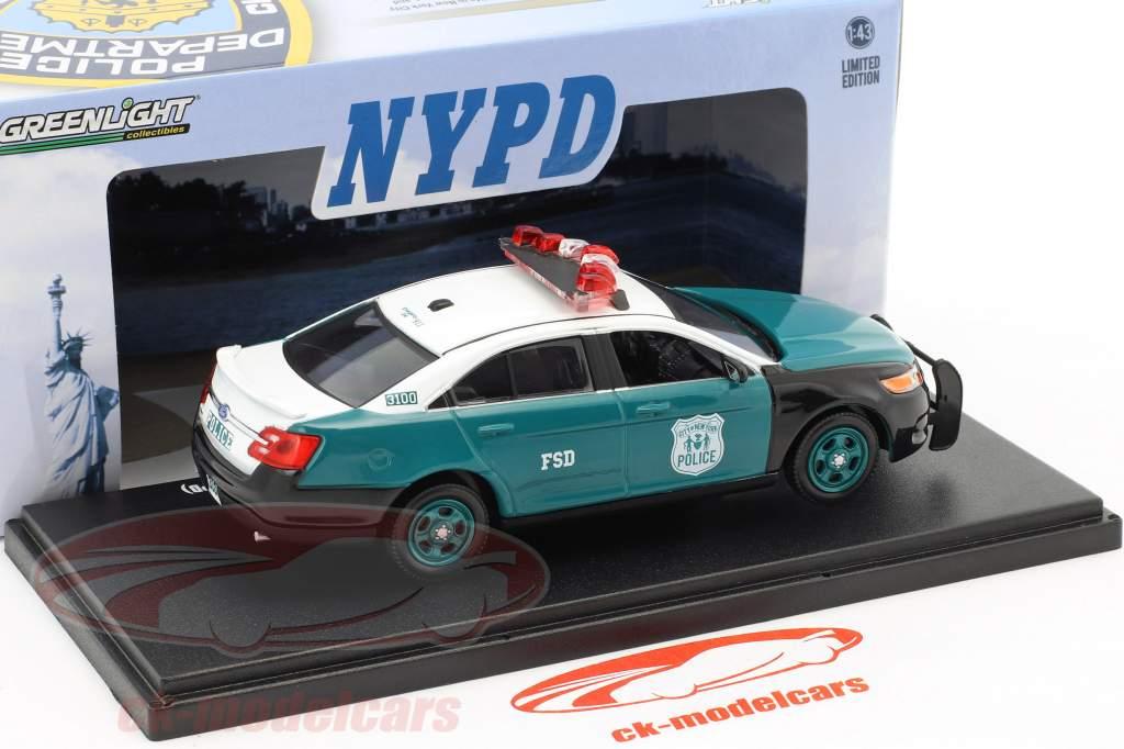Ford Police Interceptor Sedan NYPD anno di costruzione 2014 verde / bianco 1:43 Greenlight