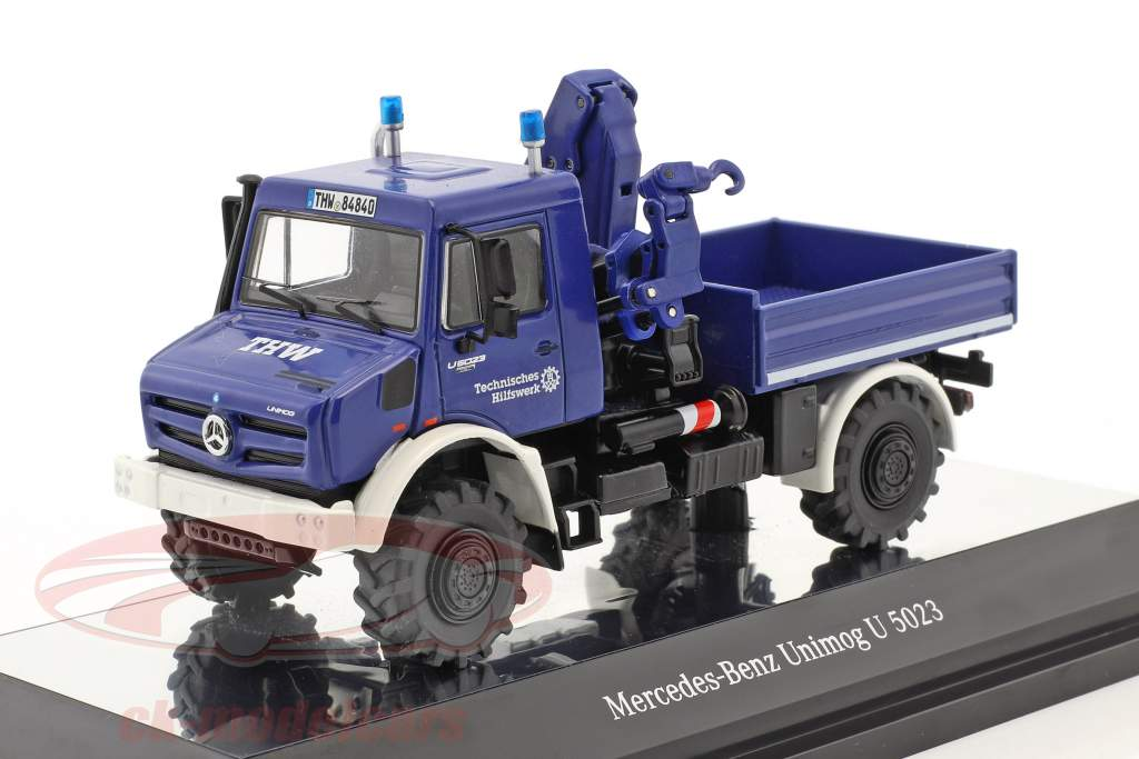 Mercedes-Benz Unimog U 5000 THW with crane blue 1:50 NZG