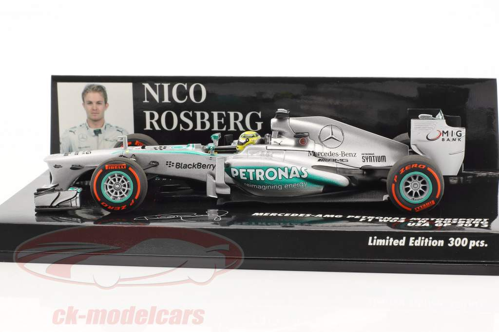 Nico Rosberg Mercedes F1 W04 #9 EUA GP fórmula 1 2013 1:43 Minichamps