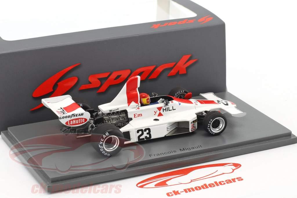 Francois Migault Hill GH1 #23 belge GP formule 1 1975 1:43 Spark