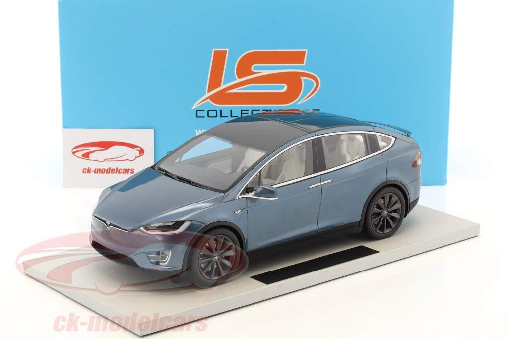 Tesla Model X anno di costruzione 2016 grigio blu metallico 1:18 LS Collectibles