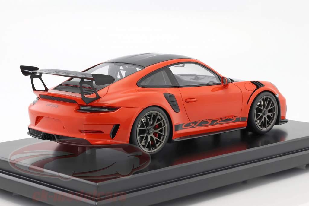 Porsche 911 (991 II) GT3 RS Weissach Package 2018 con vetrina lava arancione 1:12 Spark
