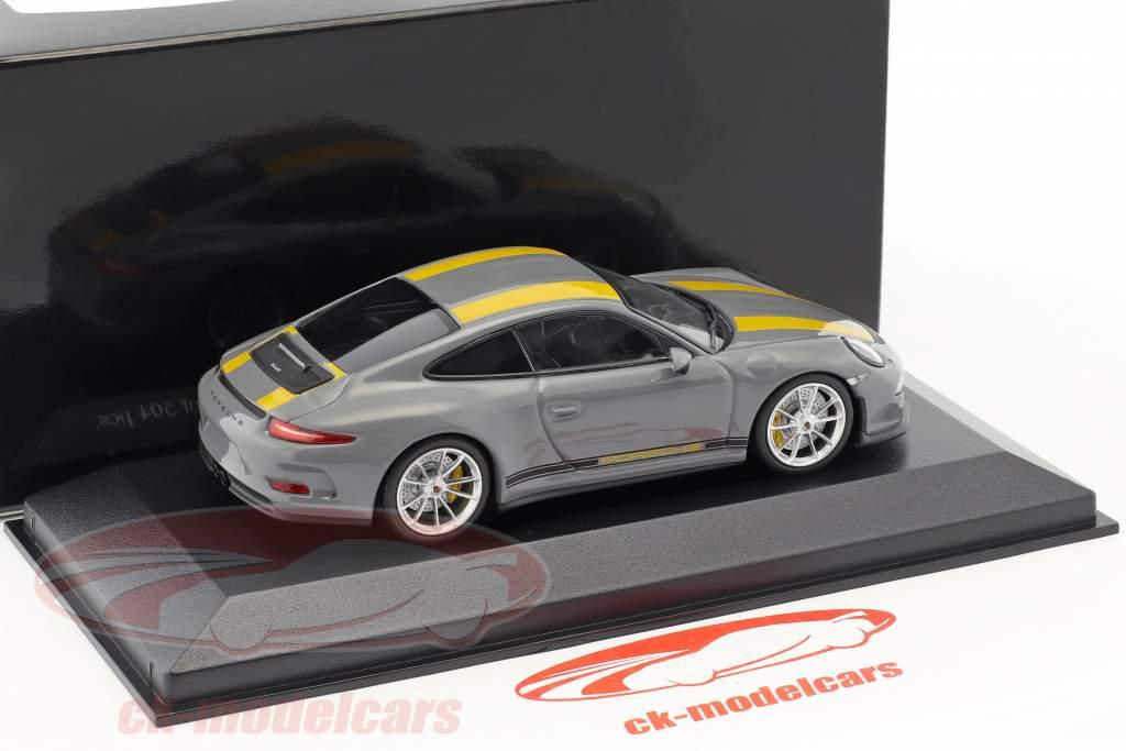 Porsche 911 (991) R year 2016 nardo gray / yellow 1:43 Minichamps