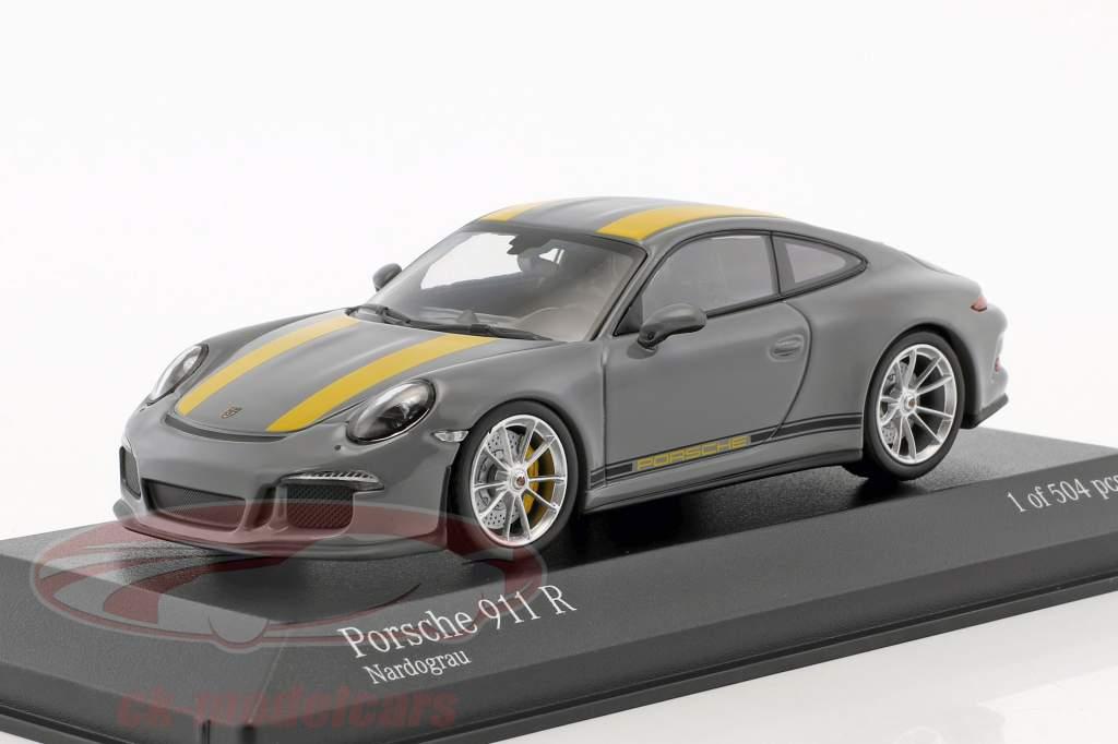 Porsche 911 (991) R Bouwjaar 2016 nardo grijs / geel 1:43 Minichamps