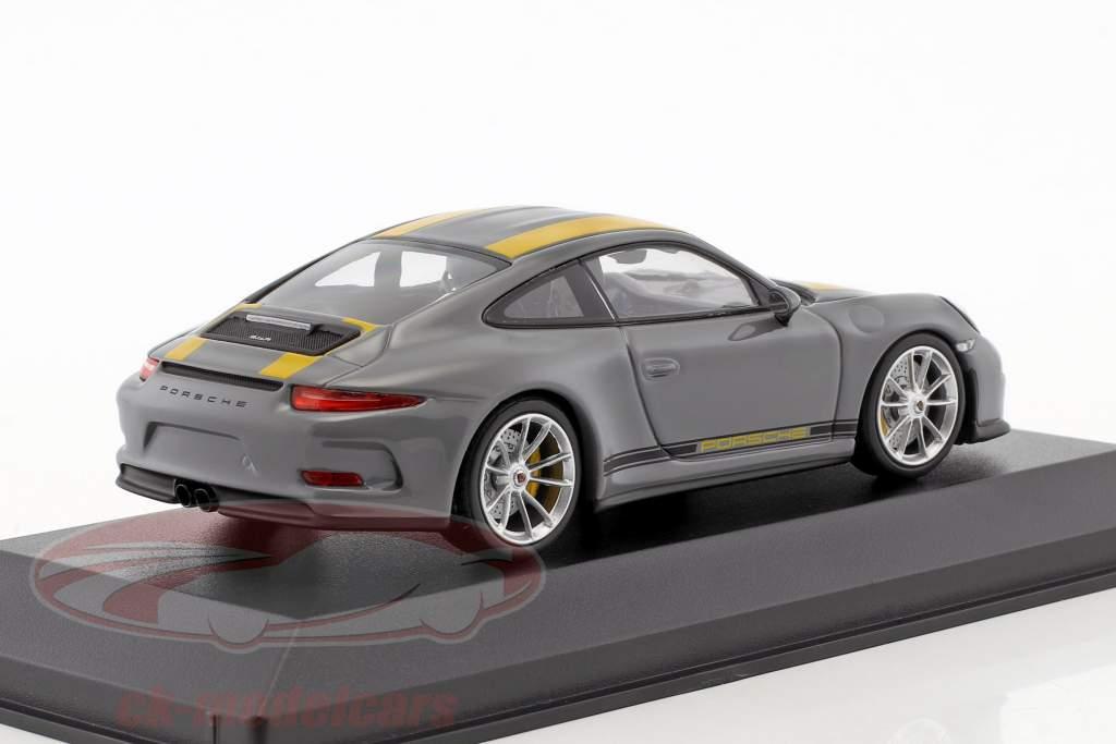 Porsche 911 (991) R Baujahr 2016 nardograu / gelb 1:43 Minichamps
