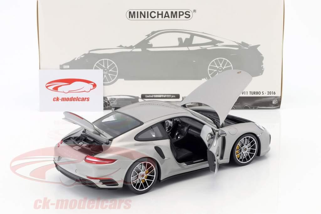 Porsche 911 (991 II) Turbo S year 2016 silver 1:18 Minichamps