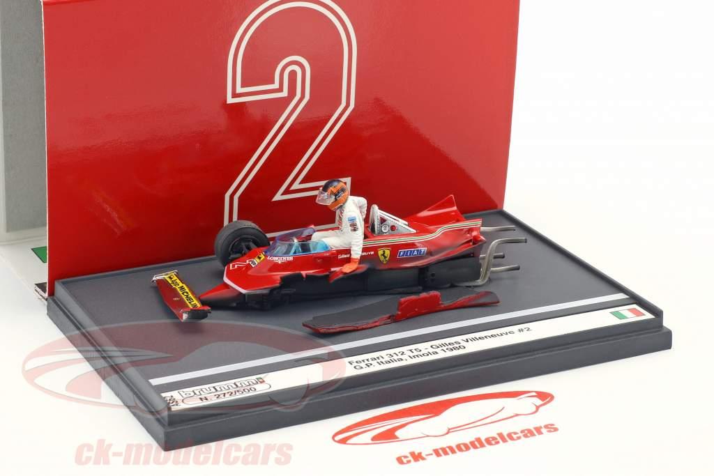 Gilles Villeneuve Ferrari 312T5 #2 Unfall Italien GP Formel 1 1980 1:43 Brumm