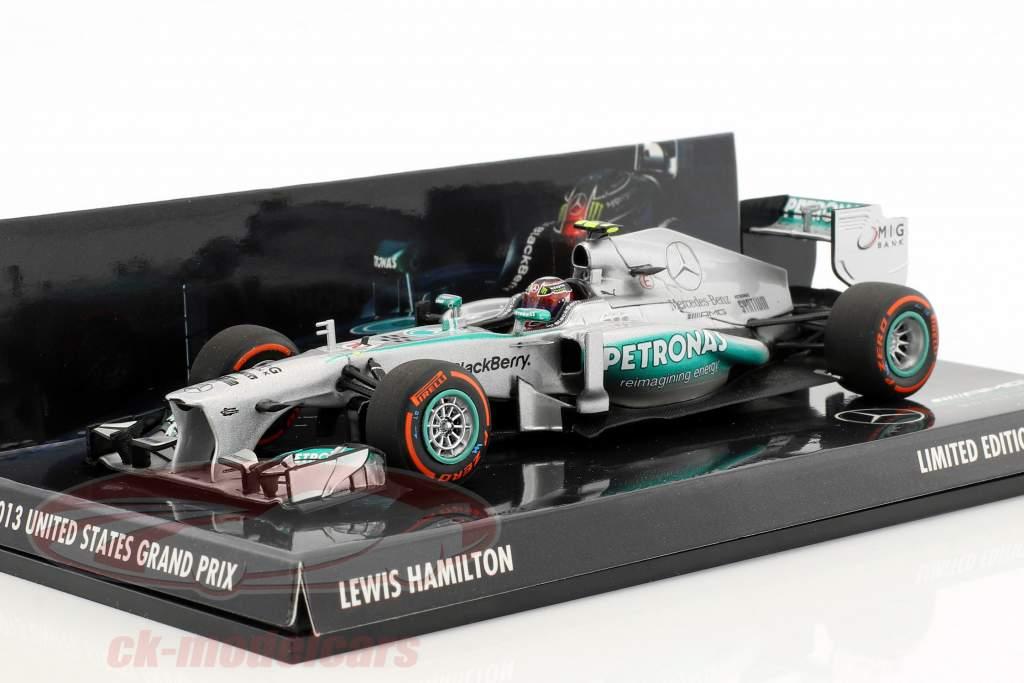 Lewis Hamilton Mercedes F1 W04 #10 USA GP formula 1 2013 1:43 Minichamps