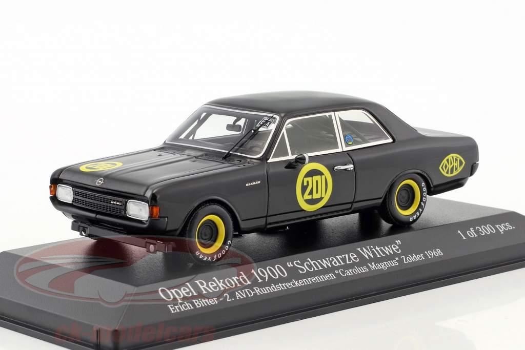 Opel Rekord 1900 negro viuda #201 Carolus Magnus Zolder 1968 Erich Bitter 1:43 Minichamps