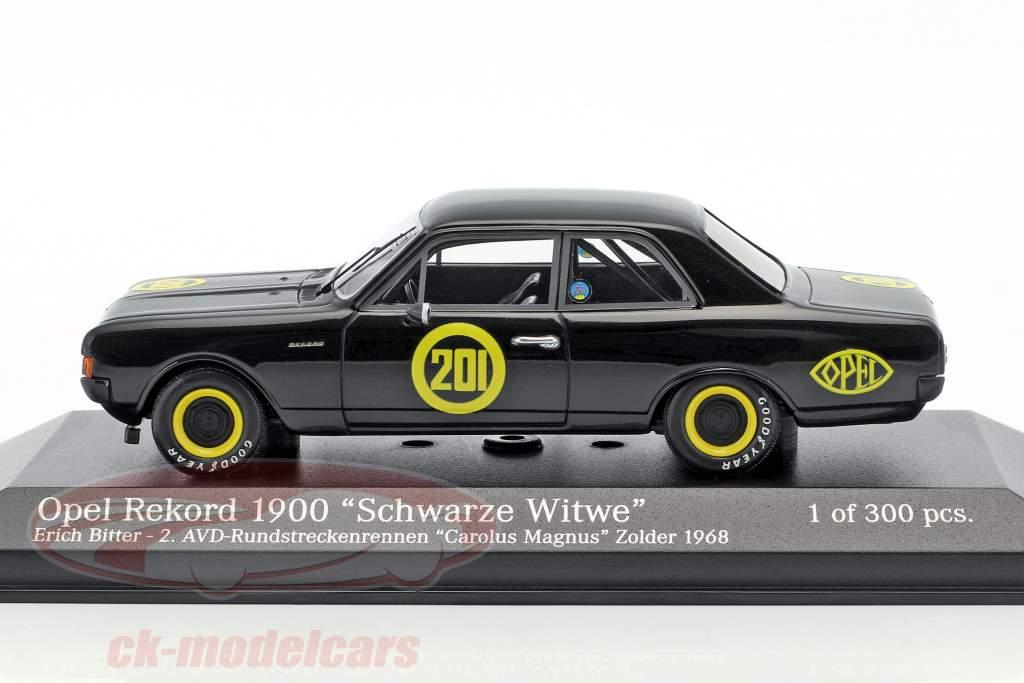 Opel Rekord 1900 noir veuve #201 Carolus Magnus Zolder 1968 Erich Bitter 1:43 Minichamps